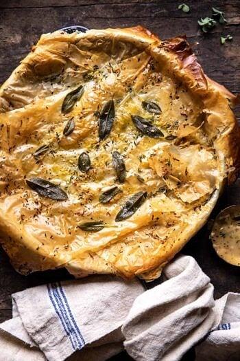 Skillet Chicken Broccoli Pot Pie with Garlic Butter Phyllo Crust.