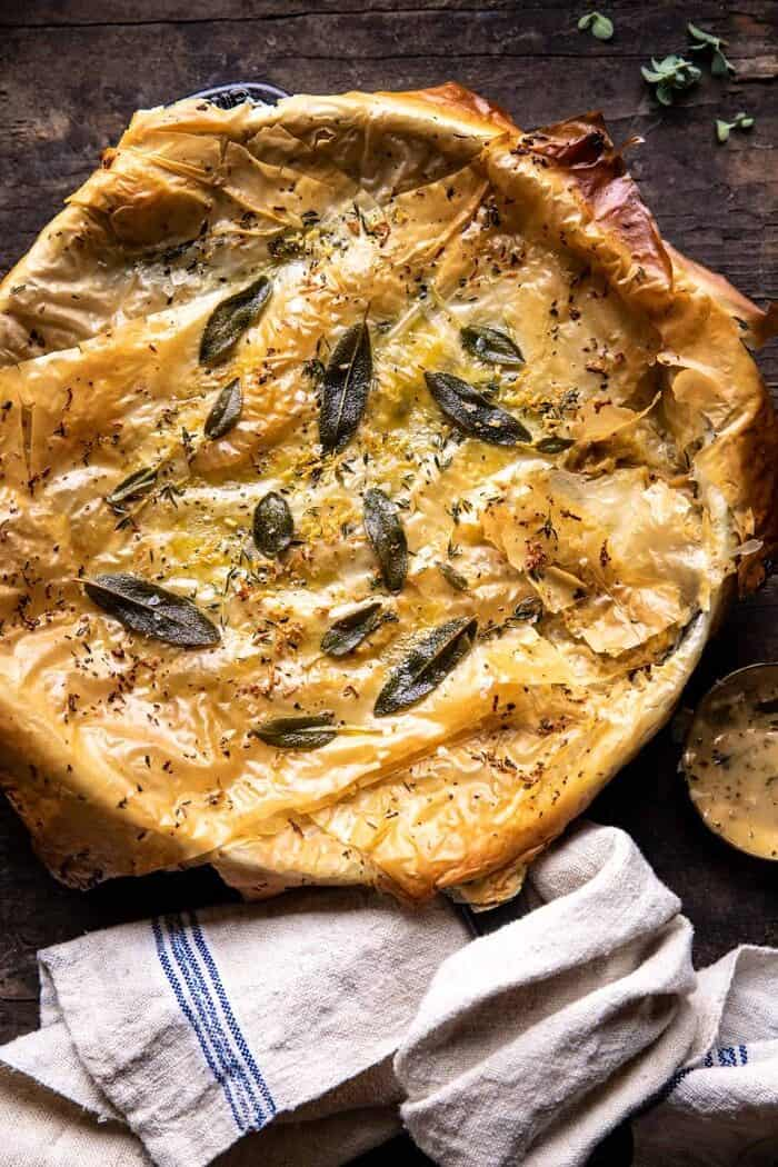 Skillet Chicken Broccoli Pot Pie with Garlic Butter Phyllo Crust.