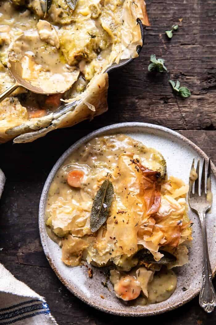 Skillet Chicken Broccoli Pot Pie with Garlic Butter Phyllo Crust on plate