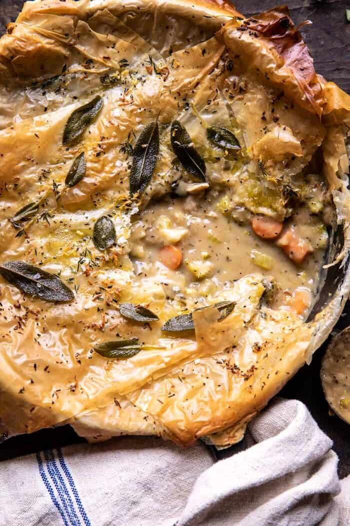 overhead close up photo of Skillet Chicken Broccoli Pot Pie with Garlic Butter Phyllo Crust