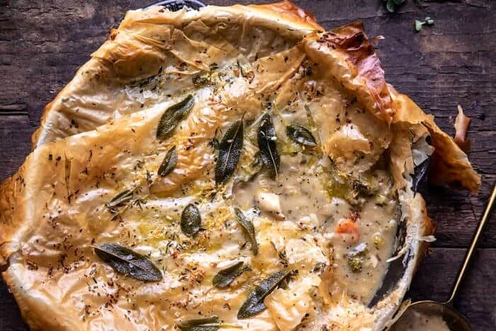 overhead horizontal close up photo of Skillet Chicken Broccoli Pot Pie with Garlic Butter Phyllo Crust
