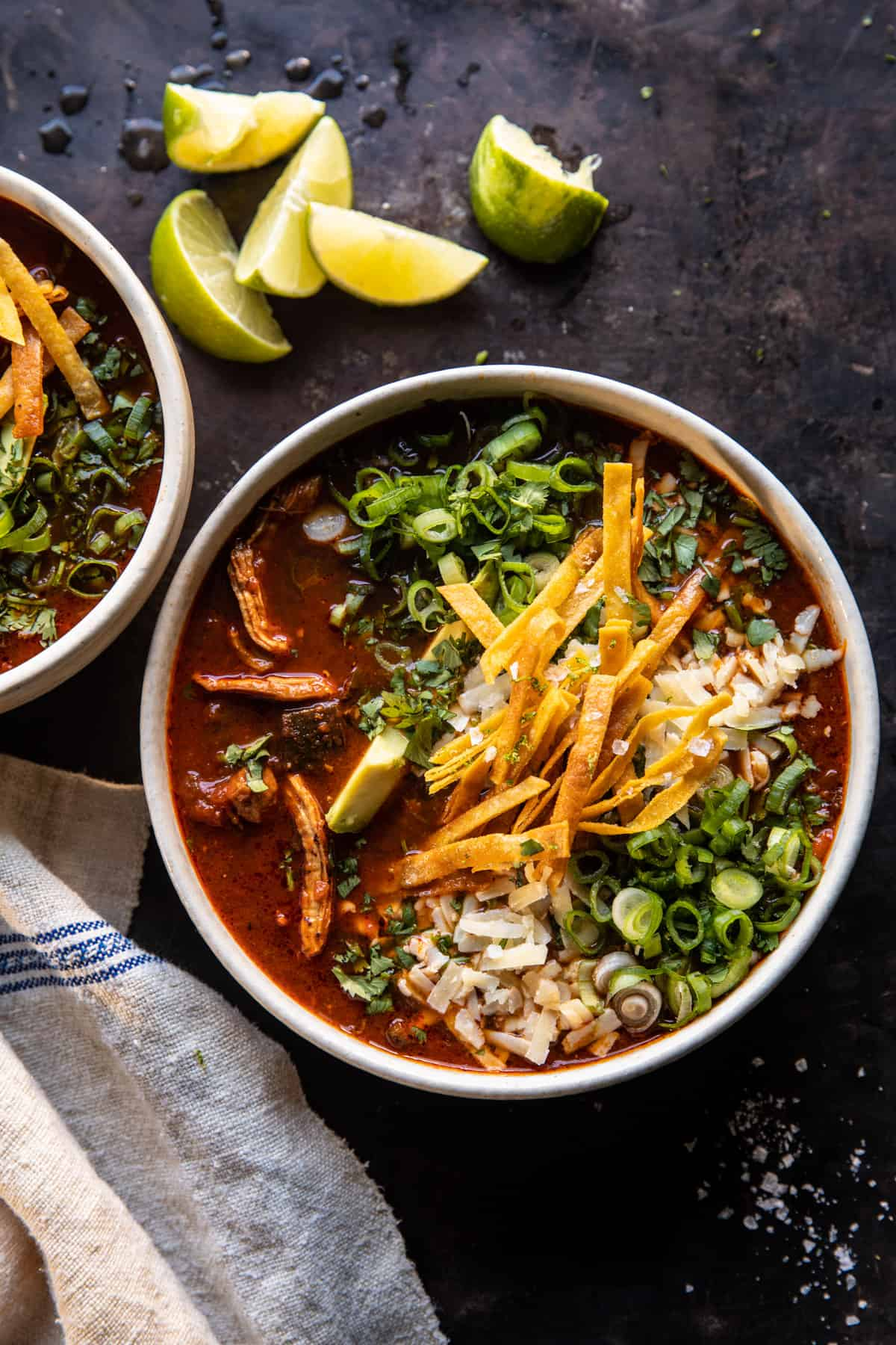 Slow Cooker Chipotle Chicken Tortilla Soup with Salty Lime Chips   halfbakedharvest.com