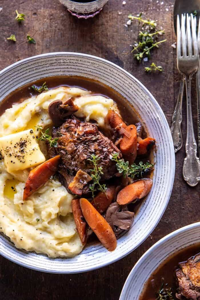 Slow Cooker Coq au Vin with Parmesan Mashed Potatoes.