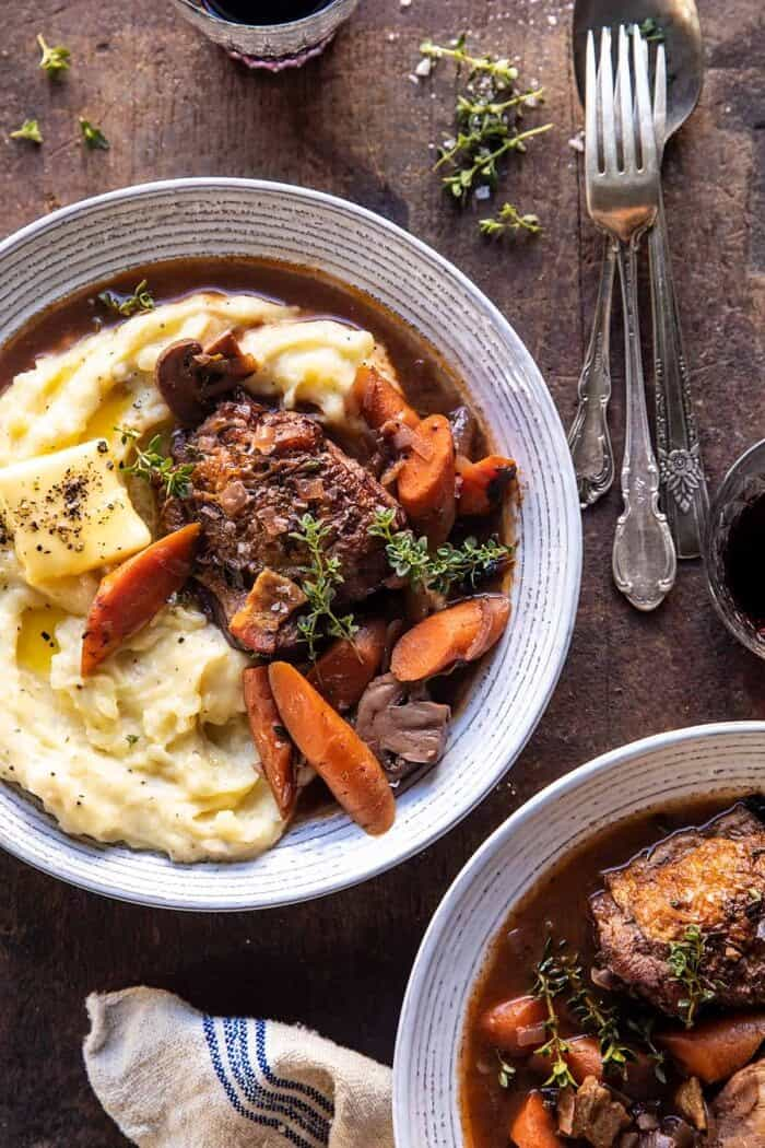 Slow Cooker Coq Au Vin With Parmesan Mashed Potatoes Half Baked Harvest