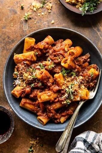 Slow Cooker Saucy Sunday Bolognese Pasta | halfbakedharvest.com