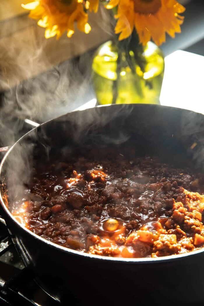 prep photo of Slow Cooker Saucy Sunday Bolognese sauce cooking on stove