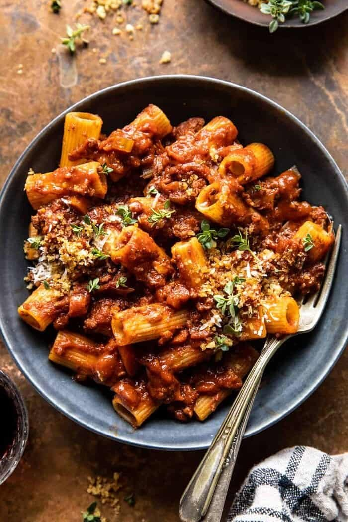 overhead close up photo of Slow Cooker Saucy Sunday Bolognese Pasta
