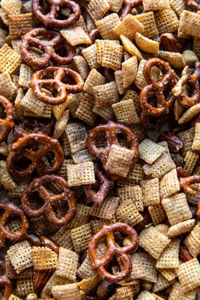 Snickerdoodle Chex Mix after baking