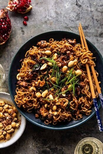 30 Minute Spicy Sesame Noodles with Ginger Chicken.