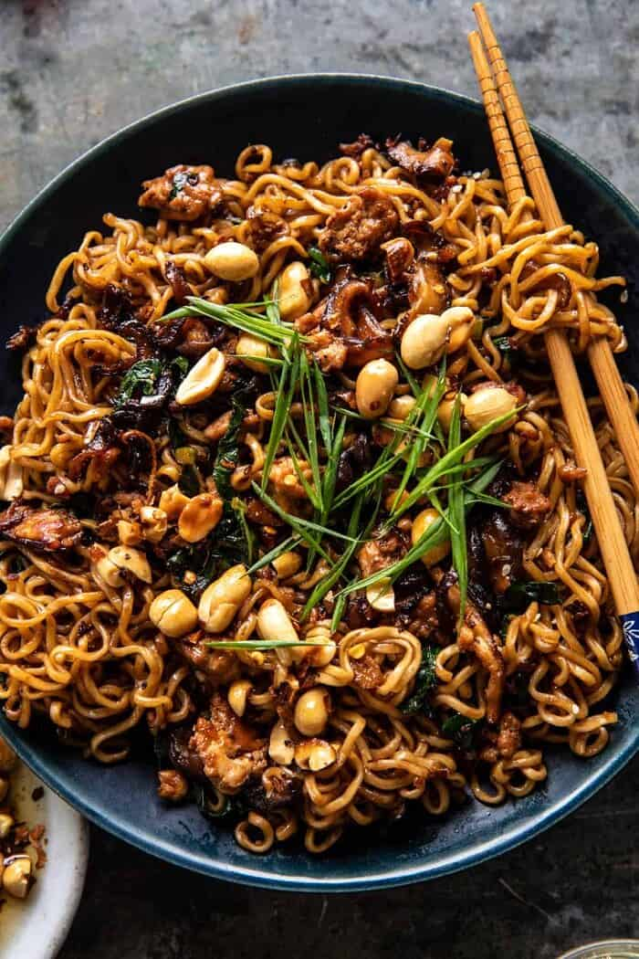 overhead close up photo of 30 Minute Spicy Sesame Noodles with Ginger Chicken