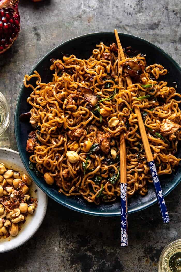 overhead photo of 30 Minute Spicy Sesame Noodles with Ginger Chicken