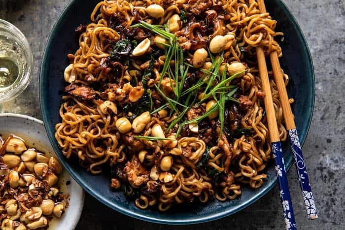 overhead horizontal photo of 30 Minute Spicy Sesame Noodles with Ginger Chicken