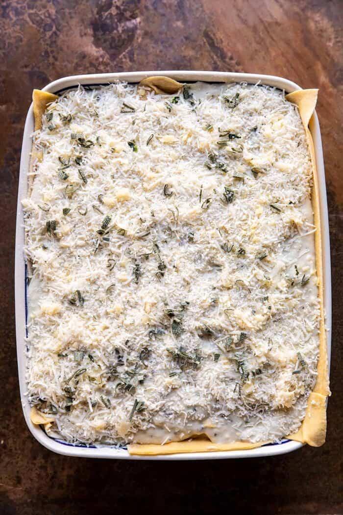 prep photo of 4 Cheese Sage Pesto Florentine Lasagna before baking