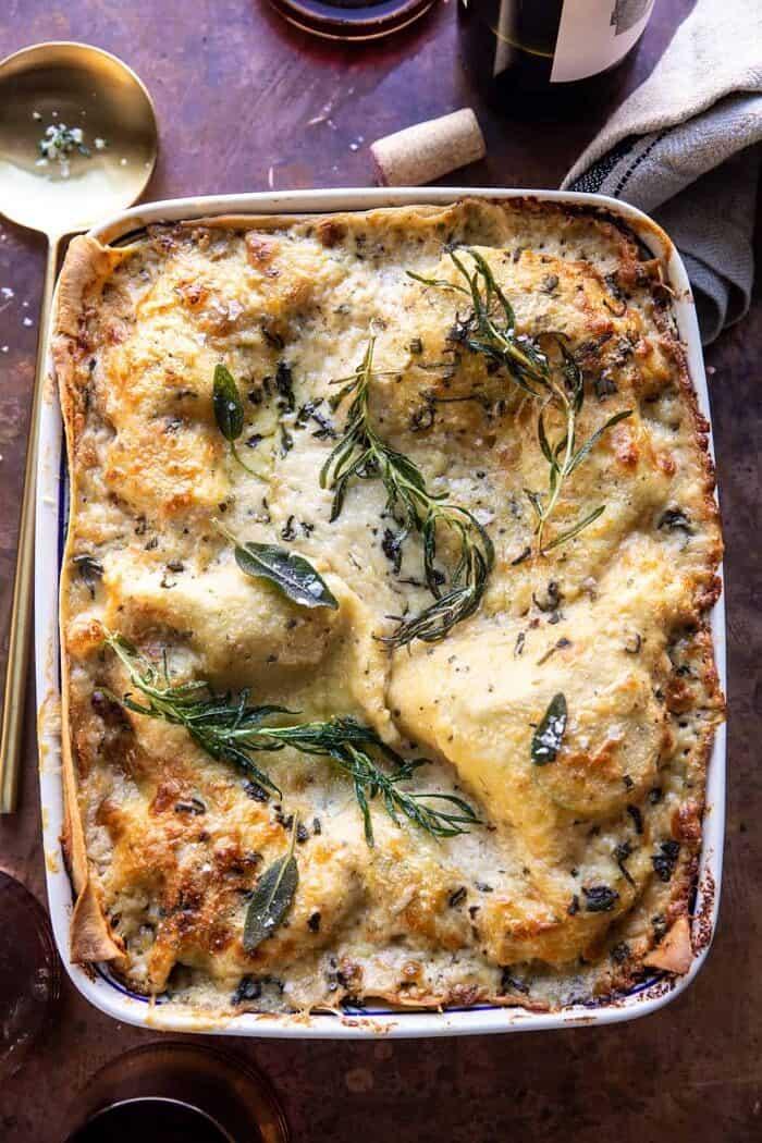 overhead photo of 4 Cheese Sage Pesto Florentine Lasagna