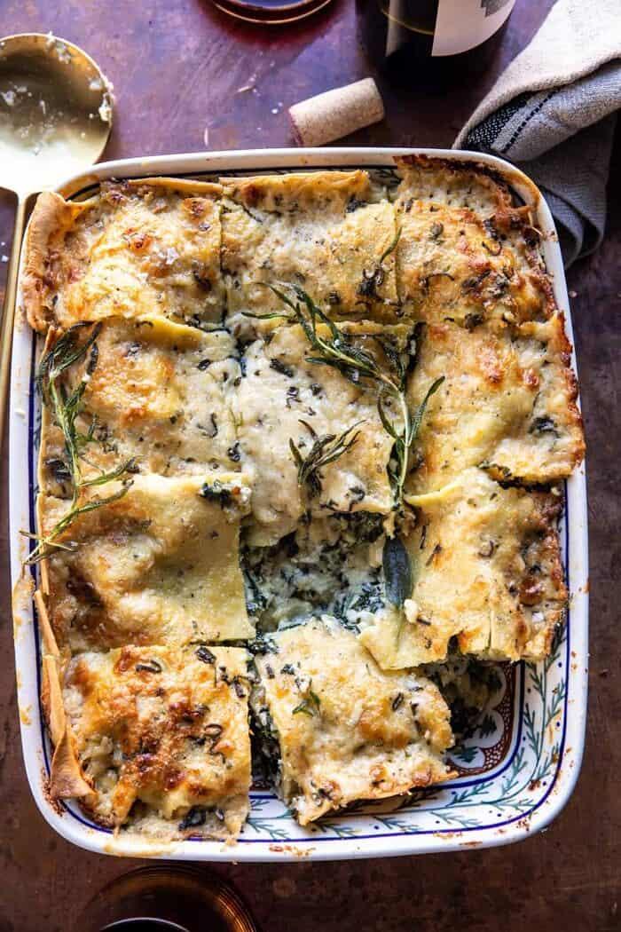 4 cheese sage pesto florentine lasagna. - half baked harvest