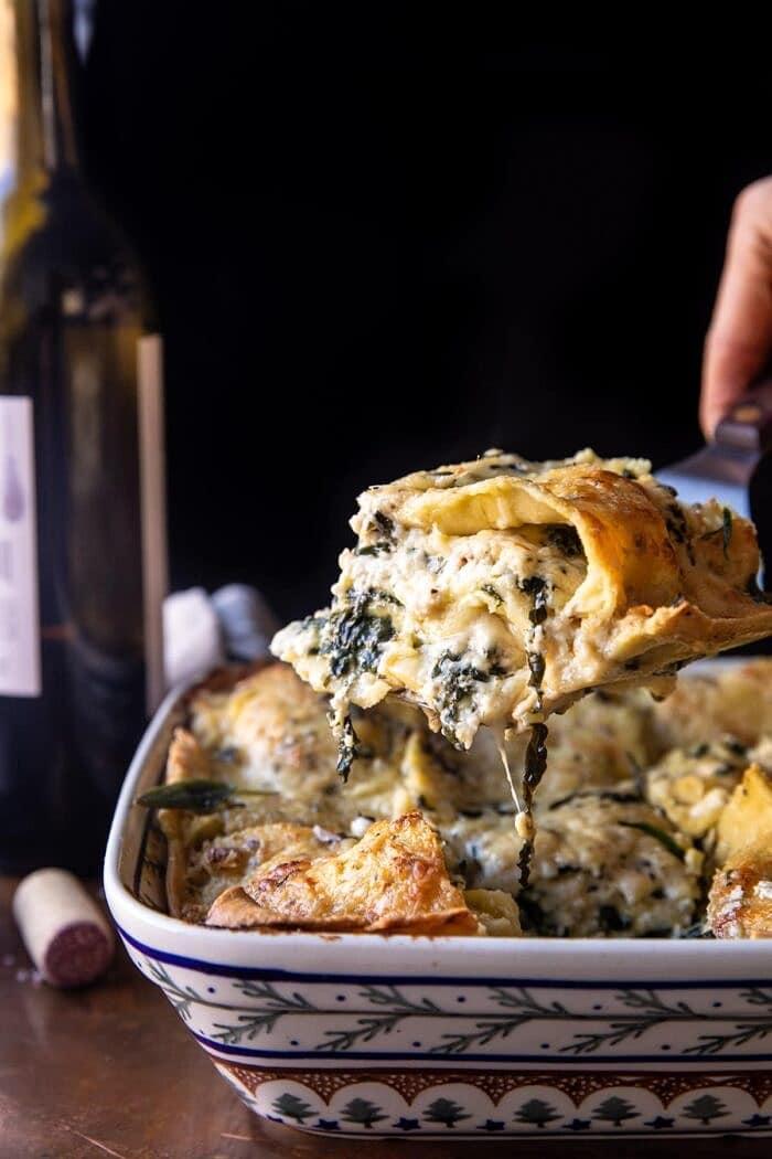side angled photo of 4 Cheese Sage Pesto Florentine Lasagna