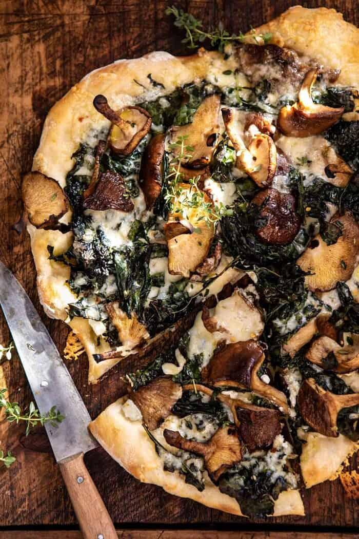 Roasted Mushroom Kale Pizza
