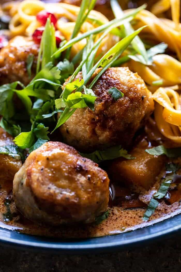 side angled close Creamy Coconut Chicken Meatball and Noodle Curry