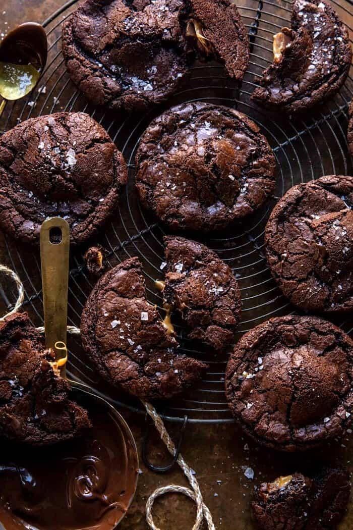 Crinkly Caramel Stuffed Brownie Cookies.