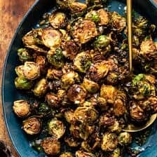 Fried Brussels Sprouts with Cider Vinaigrette and Bacon Breadcrumbs.