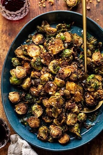 Fried Brussels Sprouts with Cider Vinaigrette and Bacon Breadcrumbs | halfbakedharvest.com