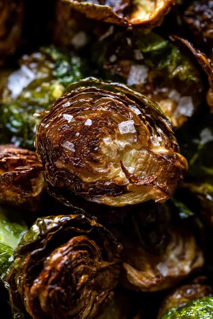 overhead close up photo of Fried Brussels Sprouts