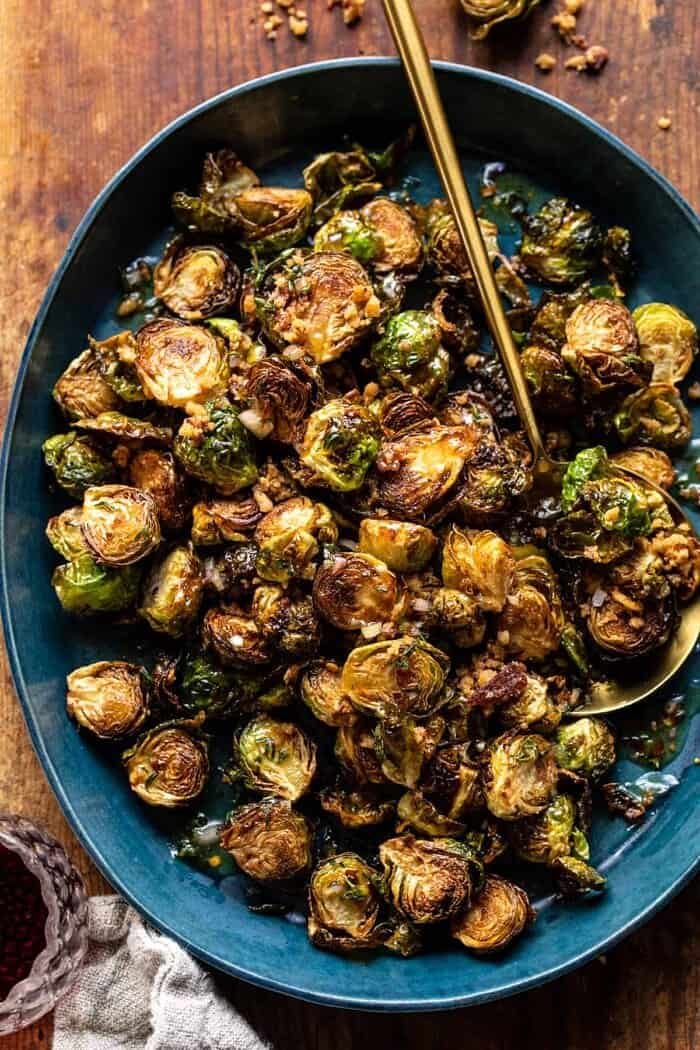 overhead photo of Fried Brussels Sprouts with Cider Vinaigrette and Bacon Breadcrumbs