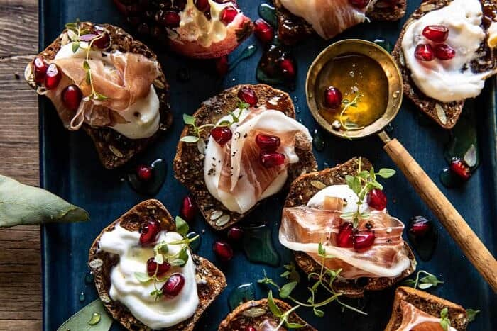 overhead horizontal photo of Honey Whipped Ricotta and Prosciutto Crackers