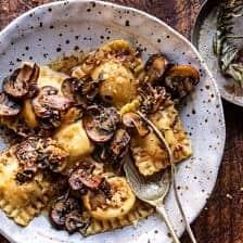 Rosemary Butter Mushroom and Cheese Ravioli.