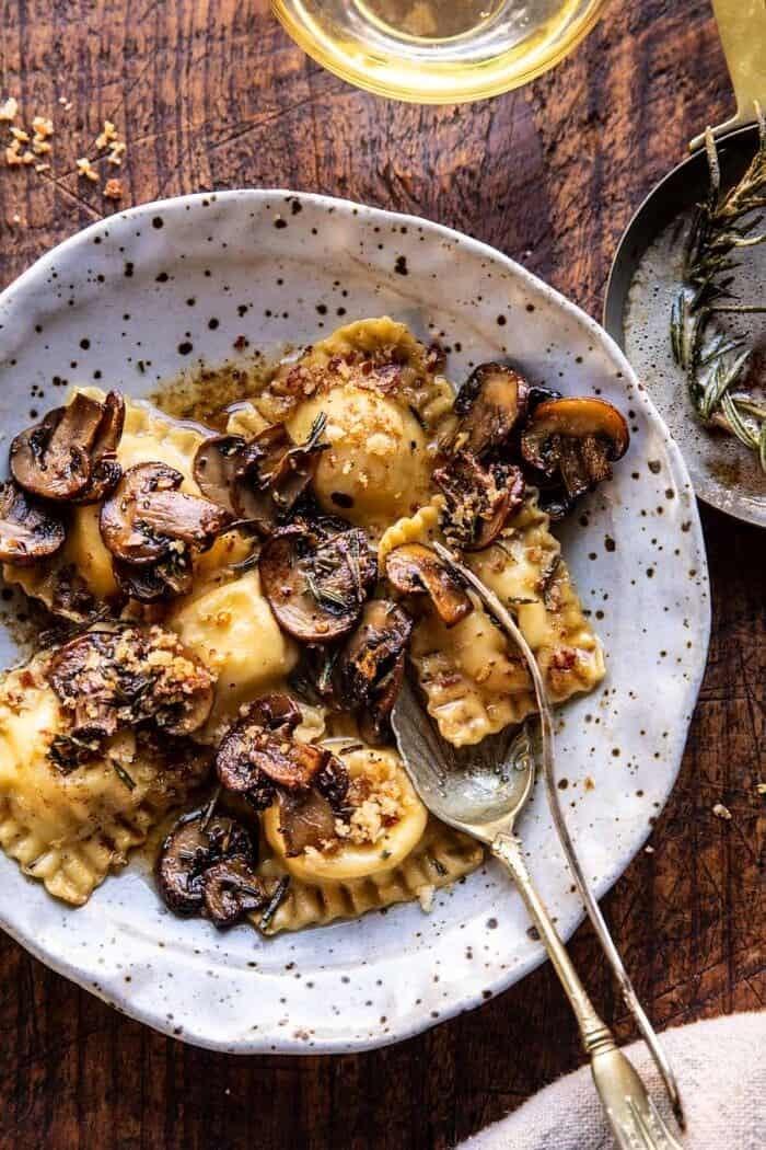Rosemary Butter Mushroom and Cheese Ravioli | halfbakedharvest.com