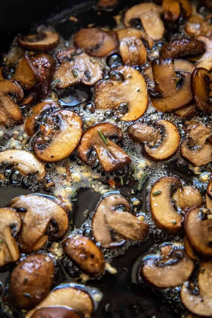 prep photo of Rosemary Butter Mushrooms cooking