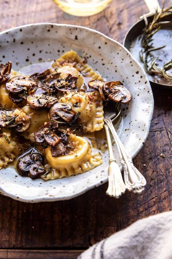 side angled photo of Rosemary Butter Mushroom and Cheese Ravioli