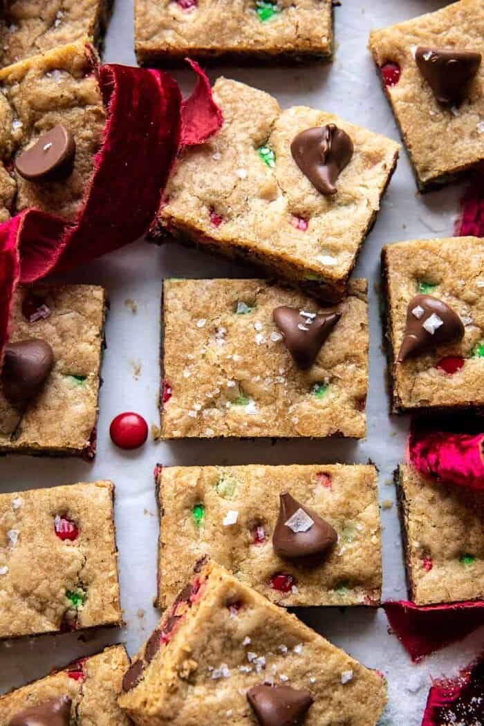 overhead close up photo of Brown Butter Christmas M&M Cookie Bars