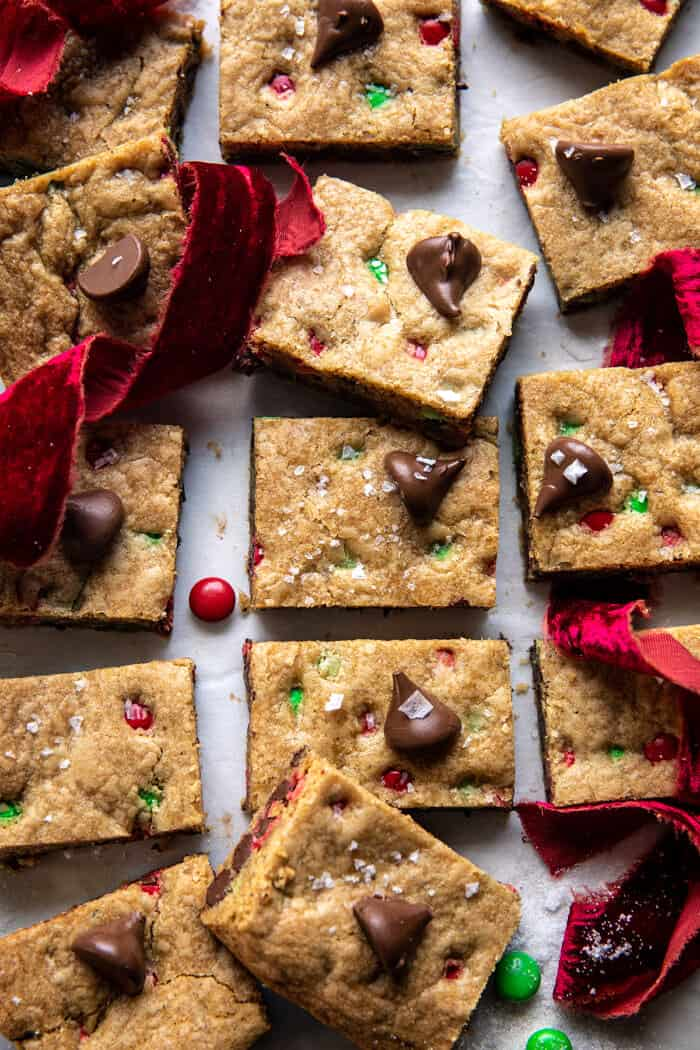 overhead photo of Brown Butter Christmas M&M Cookie Bars