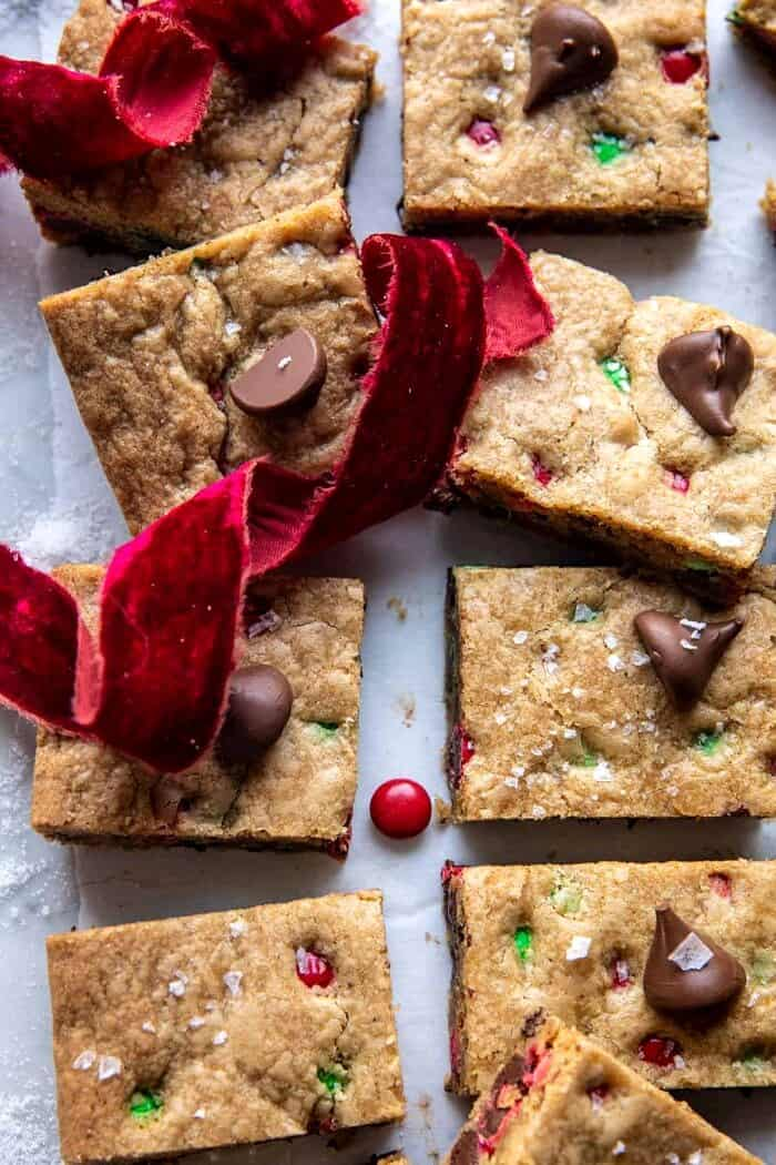 side angled close up photo of Brown Butter Christmas M&M Cookie Bars