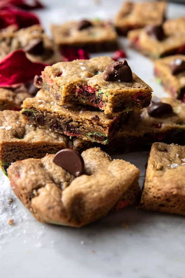 Brown Butter Christmas M&M Cookie Bars | halfbakedharvest.com