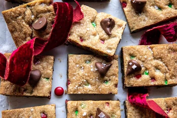 overhead horizontal photo of Brown Butter Christmas M&M Cookie Bars