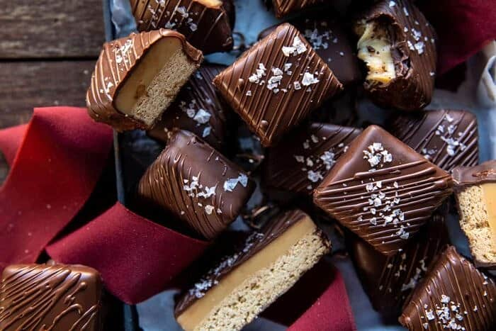 overhead horizontal photo of Chocolate Covered Brown Butter Millionaire's Bars