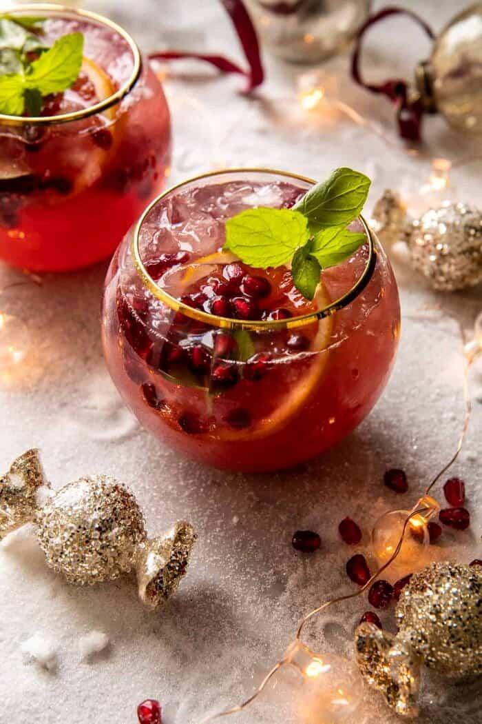 overhead photo of Citrus Pomegranate Champagne Twist