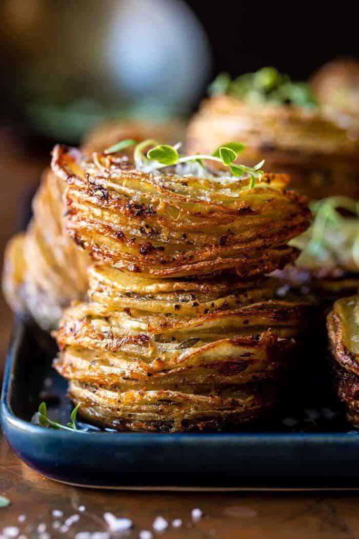 close up photo of Crispy Cheesy Potato Stacks