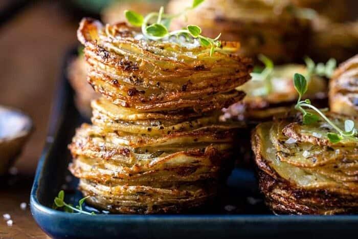 horizontal photo fo Crispy Cheesy Potato Stacks