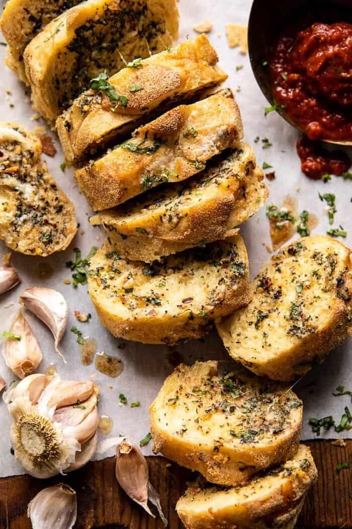overhead photo of Easy Pull Apart Garlic Parmesan Bread