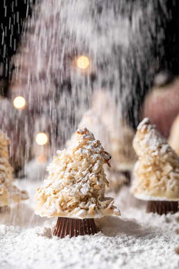 front on photo of Easy Vanilla Sugar Dusted Macaroon Trees