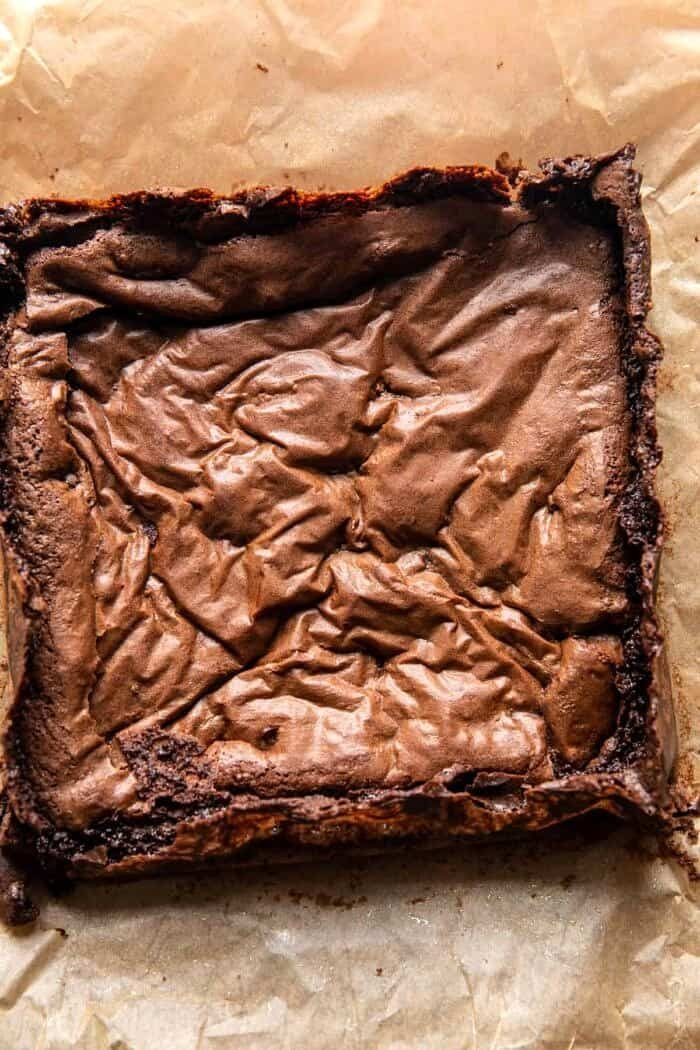 overhead photo of brownies after baking
