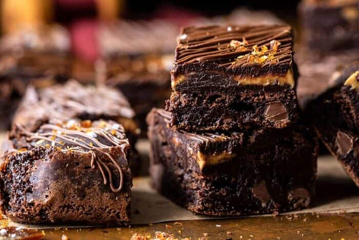 side angle horizontal photo of Milk Chocolate Peanut Butter Truffle Brownies