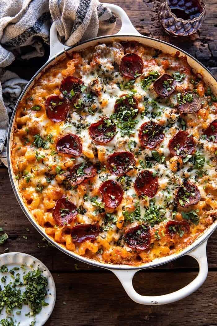 overhead photo of One Pot Spicy Alla Vodka Pizza Pasta