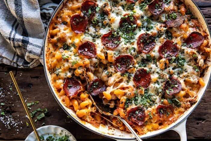 overhead horizontal photo of One Pot Spicy Alla Vodka Pizza Pasta