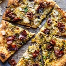 Shredded Brussels Sprout and Bacon Pizza.