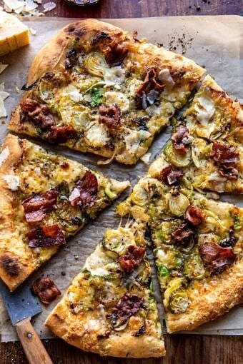 Shredded Brussels Sprout and Bacon Pizza | halfbakedharvest.com