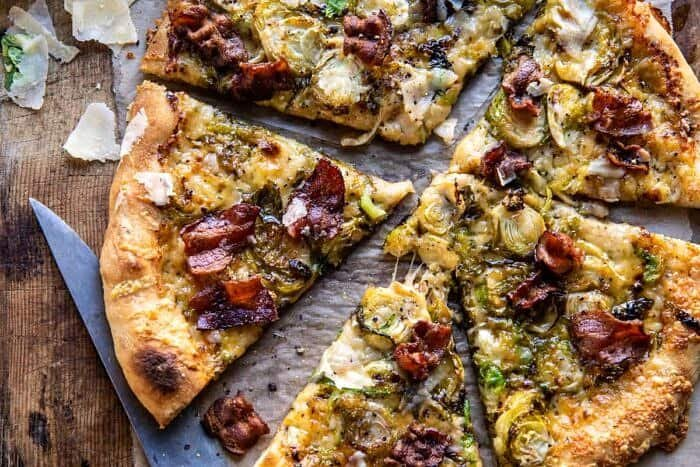 overhead horizontal photo of Shredded Brussels Sprout and Bacon Pizza